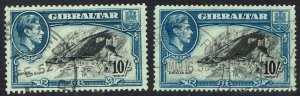 GIBRALTAR 1938 KGVI CATALAN BAY 10/-  PERF 13 AND 14 USED