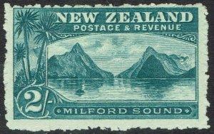 NEW ZEALAND 1902 MILFORD SOUND 2/- WMK STAR NZ PERF 11