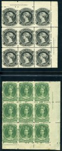 Nova Scotia #8 & 11 Corner Blocks Of 9, Mint-VF-OG-NH Pretty (GARY 9/11/20)