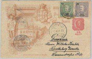 52097 - PORTUGAL: Azores PONTA DLGADA -  POSTAL HISTORY -  STATIONERY CARD  1893
