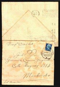 1929 & 1930 Uruguay 2 slogan cancel postmarks Railway train route innauguration