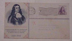 US FDC  1932 WILLIAM PENN #724-26 CACHET  ADDRESSED