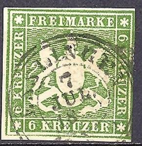 Wuerttemberg #16 VF   Used  signed Irtenkauf