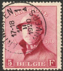 BELGIUM-1919 5F Red Sg 249 VERY FINE USED V41547