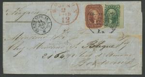 #28b, 33 ON 1858 LETTER NEW ORLEANS VIA BOSTON TO FRANCE VF W/ PF CERT WLM7706
