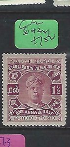 INDIA NATIVE STATE COCHIN  (P0509B)   1 1/2A       SG 42     MOG