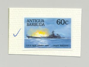Antigua #1029 USS New Jersey, Battleship, 1v. imperf chromalin proof