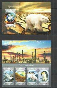 ST1683 2014 S. TOME & PRINCIPE ANIMALS FAUNA GLOBAL WARMING KB+BL MNH STAMPS