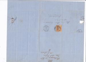Spain 19th century imperf stamp cover  Ref: 8262