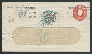 SWITZERLAND 1914 GB 1d stat envelope used to Geneva - 30c postage due......58377