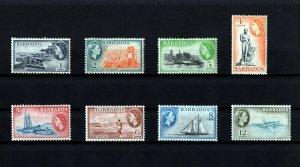 BARBADOS - 1953 - QE II - DOVER - NELSON - SCHOONER - SUGAR ++ 8 X MNH SINGLES!