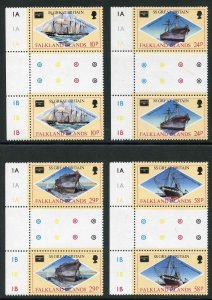 Falkland Is SG527-30 Ameripex 86 Stamp Show in GUTTER PAIRS U/M