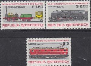Austria MNH 1067-9 Locomotives 1977
