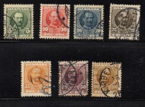 Denmark Sc 72-78 1907-1912 Frederik VIII stamp set used