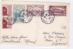 morocco 1951 multi   stamps card ref r16012