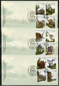 MARSHALL ISLANDS 2008 DINOSAURS SET ON THREE FIRST DAY COVERS
