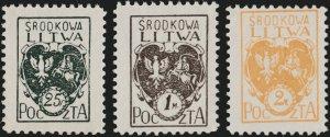 CENTRAL LITHUANIA / MITTELLITAUEN - 1921 Mi.20A/22A Mint** - ref.881c