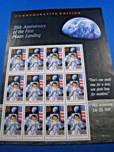 UNITED STATES SCOTT #2841 - FULL PANE 25TH ANNIVERSARY MOON LANDING  MNH  (brig)