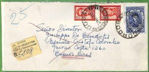 98811 -  ARGENTINA - POSTAL HISTORY - Registered Express INTERNAL COVER   1960's