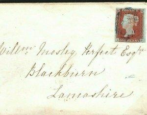GB BLUE NUMERAL Cheshire *Northwich* Blackburn 1840 {samwells-covers} L32d