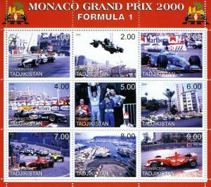 Tajikistan 2000 MONACO F1 GRAND PRIX (9) Perforated Mint (NH)