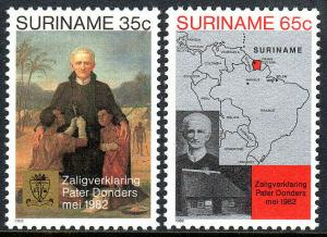 Surinam 598-599,MNH.Beatification of Father Petrus Donders.Helping the sick,1982