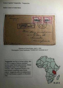 1940 Musoma Tanganyika British KUT Censored Cover To Lancaster Pa USA