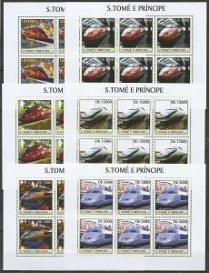 KV031 2003 S. TOME & PRINCIPE NEW TRANSPORT HIGH SPEED TRAINS !!! 6SET MNH