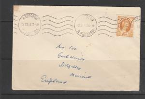 Northern Rhodesia 1956 Cover with Rhod/Nyasa 2 1/2d def, pmk ABERCORN, hand addr