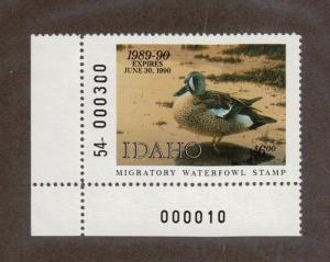ID3 - Idaho State Duck Stamp. MNH OG. Plate Numbered Single.#02 ID3BL