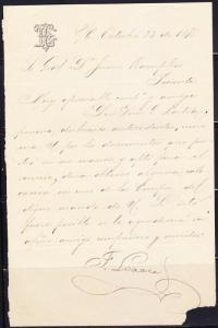 R)1875 LETTER SR.GENERAL DON JUAN KAMPFNER