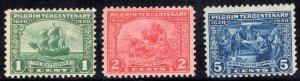 US Stamps Scott #548, 549, 550 Pilgrim Tercentenary Mint  Hinged SCV $38.75