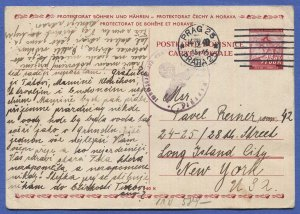 BOHEMIA & MORAVIA Czechoslovakia 1940 Nazi Censored Postal Card PRAG to USA