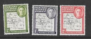 FALKLAND ISLANDS DEP Scott #1L1-1L3 Mint 2015 CV $3.70