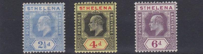 ST HELENA  1908 - 11    S G  64 - 67        SET OF 3      MH