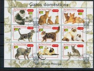 St Thomas & Prince SC# -- Cats mini-sheet Used