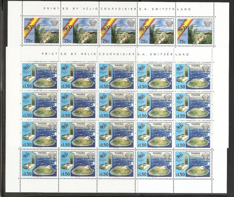 Nauru 428-9 1995 50th UN Full Sheet MNH
