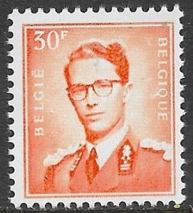 BELGIUM 1953-72 30fr Red Orange King Baudouin Portrait Issue Sc 468 MNH