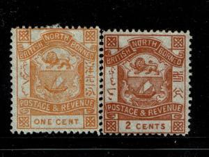 North Borneo SG# 37 and 38, Mint No Gum - S1412
