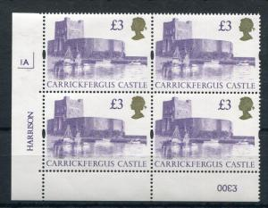£3 CASTLES UNMOUNTED MINT PLATE 1A BLOCK Cat £75