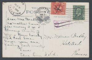 Canada Sc 195, US Sc J71 on 1933 Postage Due Post Card, Maryland Bridge Winnipeg