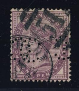 GB - QV - 1d LILAC PERFIN INTERTWINED CC CANCELLED DUPLEX 547 STOKE-ON-TRENT