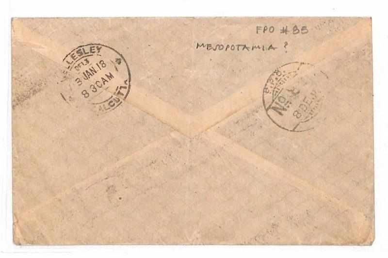 HL518 1918 WW1 INDIAN FORCES MESOPOTAMIA India *FPO 85* OHMS Official Cover Iraq