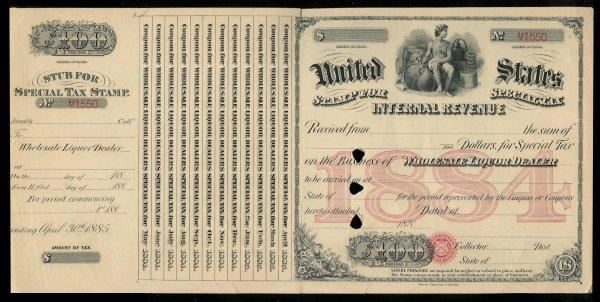 US 1873 Rectifier Distilled Spirits Special Tax Stamp