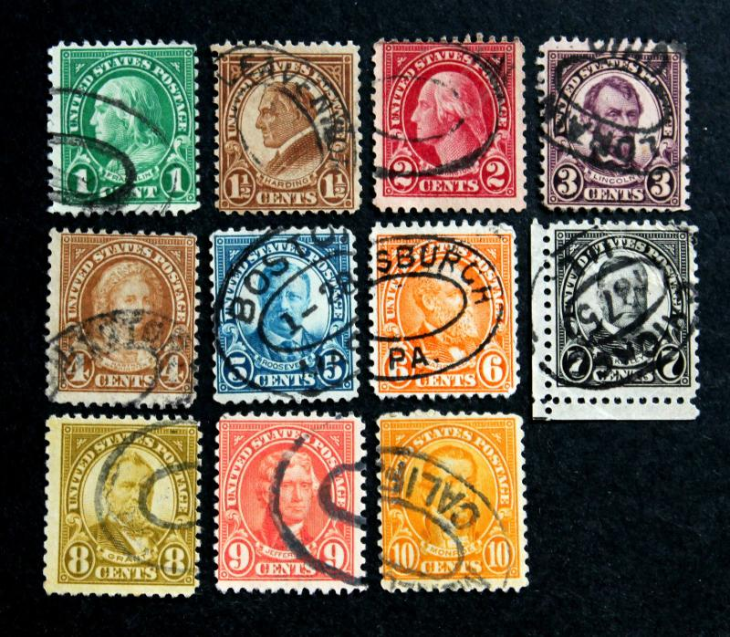 U.S. Stamp Sc# 632-634, 635-642 Double Oval Cancels Specialty Set of 11 Stamps