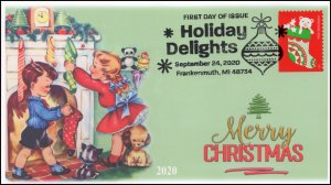 20-225, SC 5528, 2020, Holiday Delights, FDC, Pictorial Postmark, Stocking,