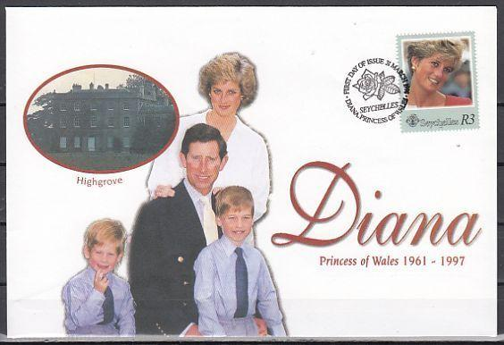 Seychelles, Scott cat. 802a. Diana, Princess of Wales. First day cover. *