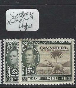 GAMBIA  (P0103B)  KGVI  ELEPHANT 2/6  SG 157 X 2 SHADES    MOG