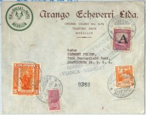 69210 - COLOMBIA - POSTAL HISTORY - AIRMAIL COVER to the USA  1951 - ORCHIDS