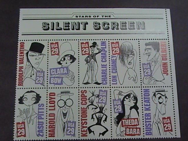 U.S.# 2819-2828(2828a)-MINT/NEVER HINGED-BLOCK OF 10-SILENT SCREEN STARS--1994